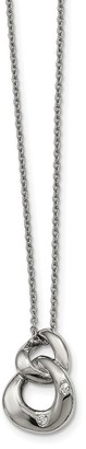 Chisel Stainless Steel Polished Two Loop 2 Cubic Zirconia Necklace