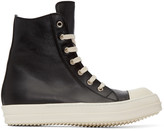 Rick Owens Black Leather High-Top Sneakers