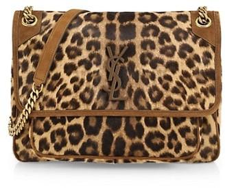 Saint Laurent Niki Leather-Trim Convertible Shoulder Bag