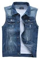 Only Faith Men's Cowboy Vest Jeans Sleeveless Shirt Personality Denim Sleeveless Coat