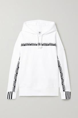 adidas Striped Cotton-jersey Hoodie - White