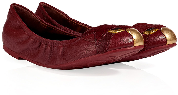 Marc by Marc Jacobs Leather Ballerinas in Cherry