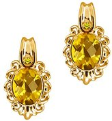 Gem Stone King 2.52 Ct Checkerboard Yellow Citrine and Diamond 14k Yellow Gold Earrings