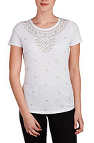 Allison Daley Wide Crew Neck Solid Knit Intricate Floral Embroidered Top