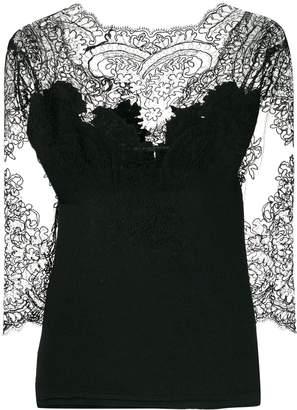 Ermanno Scervino lace-panel crepe top