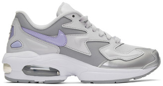 Nike Grey and Purple Air Max 2 Light Sneakers