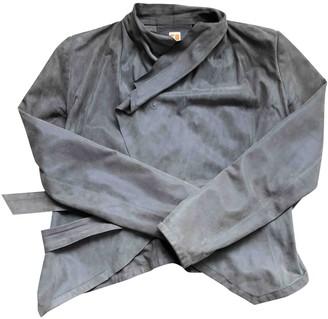 BOSS ORANGE Anthracite Leather Jacket for Women