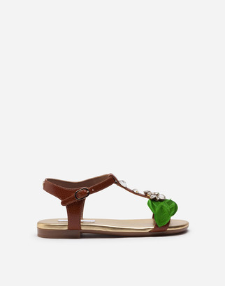 Dolce & Gabbana T-Strap Sandals In Cowhide With Jewel Applique