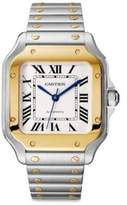 Cartier Santos de Medium Yellow Gold & Steel Alligator Strap Watch