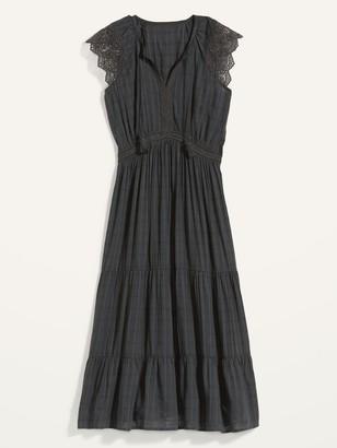 Old Navy Waist-Defined Crochet-Sleeve Tie-Neck Midi Dress for Women