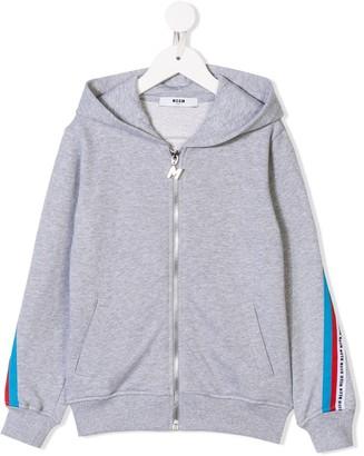 MSGM Kids logo stripe hoodie