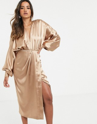 ASOS EDITION extreme sleeve plunge midi dress in satin