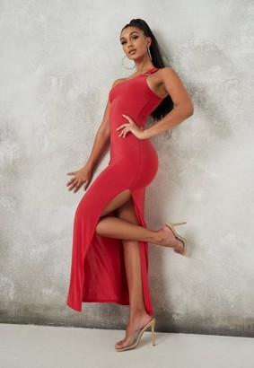 Missguided Red Ring One Shoulder Slinky Maxi Dress