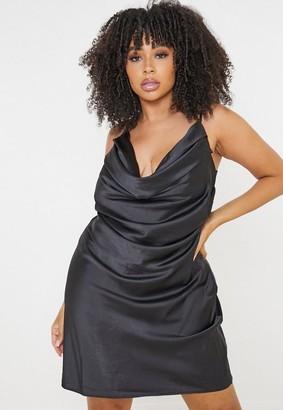 Missguided Plus Size Black Cowl Neck Satin Mini Dress