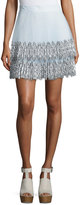Christopher Kane Pleated Tulle Lace Skirt, White/Blue