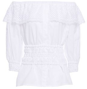 Charo Ruiz Ibiza Vero Off-the-shoulder Crocheted Lace-trimmed Cotton-blend Voile Top