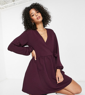 Asos Tall ASOS DESIGN Tall smock oversized mini wrap dress in dark purple