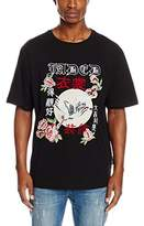 Jaded London Men's Black Tee with Oriental Embroidery T-Shirt