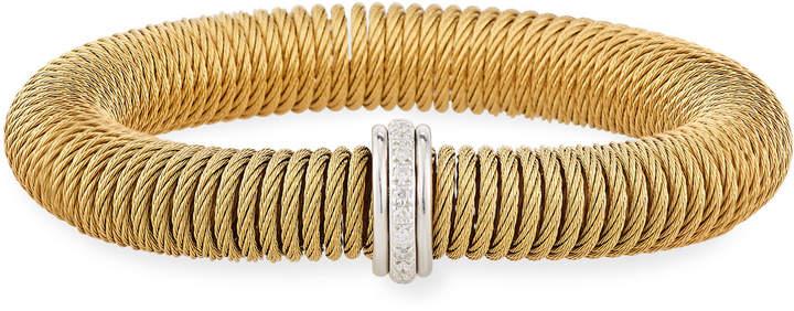 Alor Kai Steel & 18k Gold Spring-Coil Bangle, Yellow