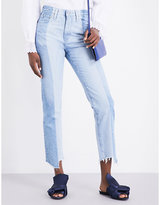AG Jeans The Phoebe frayed-hem straight high-rise jeans