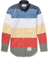 Thom Browne Slim-fit Colour-block Button-down Collar Cotton Oxford Shirt - Multi