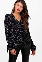 boohoo Christie Spot Print Wrap Over Blouse