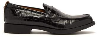 Burberry Emilie Crocodile Effect Leather Penny Loafers - Mens - Black