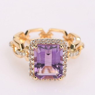 Miadora Yellow Plated Sterling Silver Amethyst, White Topaz & Diamond Accent Halo Link Cocktail Ring