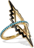 Noir Black Rapids gold-plated turquoise ring