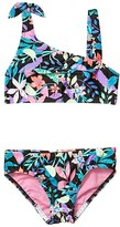 Speedo Kids Print Tie Two-Piece (Big Kids Black) Girl's Swimwear Sets