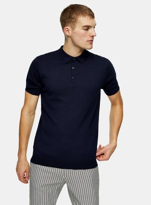 Topman Navy Button Through Knitted Polo
