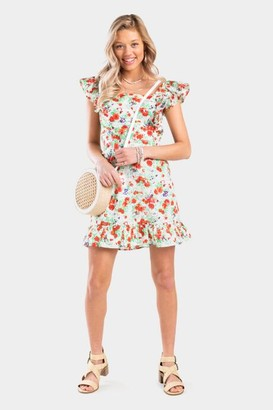 francesca's Evah Ruffle Floral Dress - White
