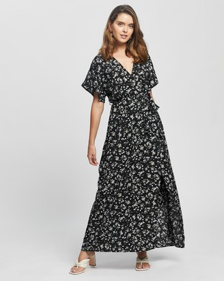 Missguided Petite - Women's Black Maxi dresses - Petite Floral Wrap Maxi Dress - Size 6 at The Iconic