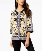 JM Collection Mixed-Print Hardware-Keyhole Top, Created for Macy's