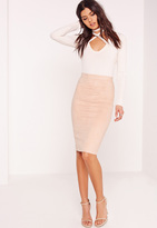 Missguided Petite Faux Suede Midi Skirt Nude