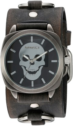 Nemesis 'Skull Head Series' Quartz Stainless Steel and Leather Watch Color:Black (Model: KFRB935K)