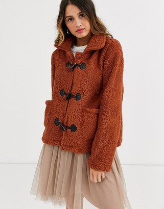 Qed London toggle borg jacket in brown