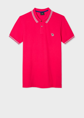Paul Smith Men's Slim-Fit Fuchsia Zebra Logo Supima Cotton Polo Shirt With Grey Tipping
