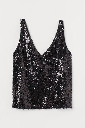 H&M Sequined Sleeveless Top - Black