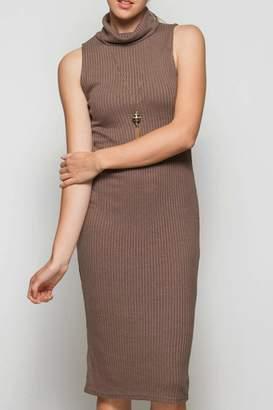 She + Sky Sleeveless Turtleneck Dress