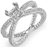 DazzlingRock Collection 0.35 Carat (Ctw) 18k White Gold Brilliant Round Cut Diamond Split Shank Semi Mount Ladies Engagement Bridal Ring (No Center Stone) (Size 6)