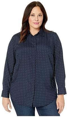 Lauren Ralph Lauren Plus Size Polka Dot Crepe Shirt (Lauren Navy/Silk White) Women's Clothing
