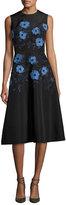 Lela Rose Embroidered Faille A-Line Dress, Black