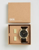 Asos Watch And Cufflink Set In Black And Gold