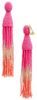 Oscar de la Renta Women's Ombre Long Tassel Clip Earrings