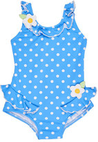 Florence Eiseman Polka-Dot Ruffle Swimsuit, Blue, Size 6-24 Months