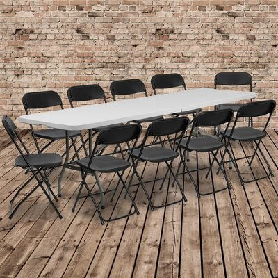 """Flash Furniture 96"""" Plastic Rectangle Folding Table with 10 Chairs"""