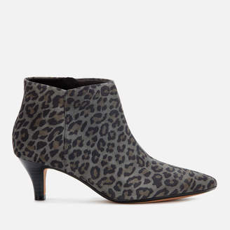 Clarks Women's Linvale Sea Suede Heeled Ankle Boots - Grey Leopard
