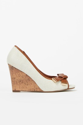 Wallis Nude Bow Wedge Heel Shoe