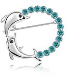 Miki&Co Silver Swarovski Elements Women's Crystal Jumping double dolphins Brooch, with a Gift Box